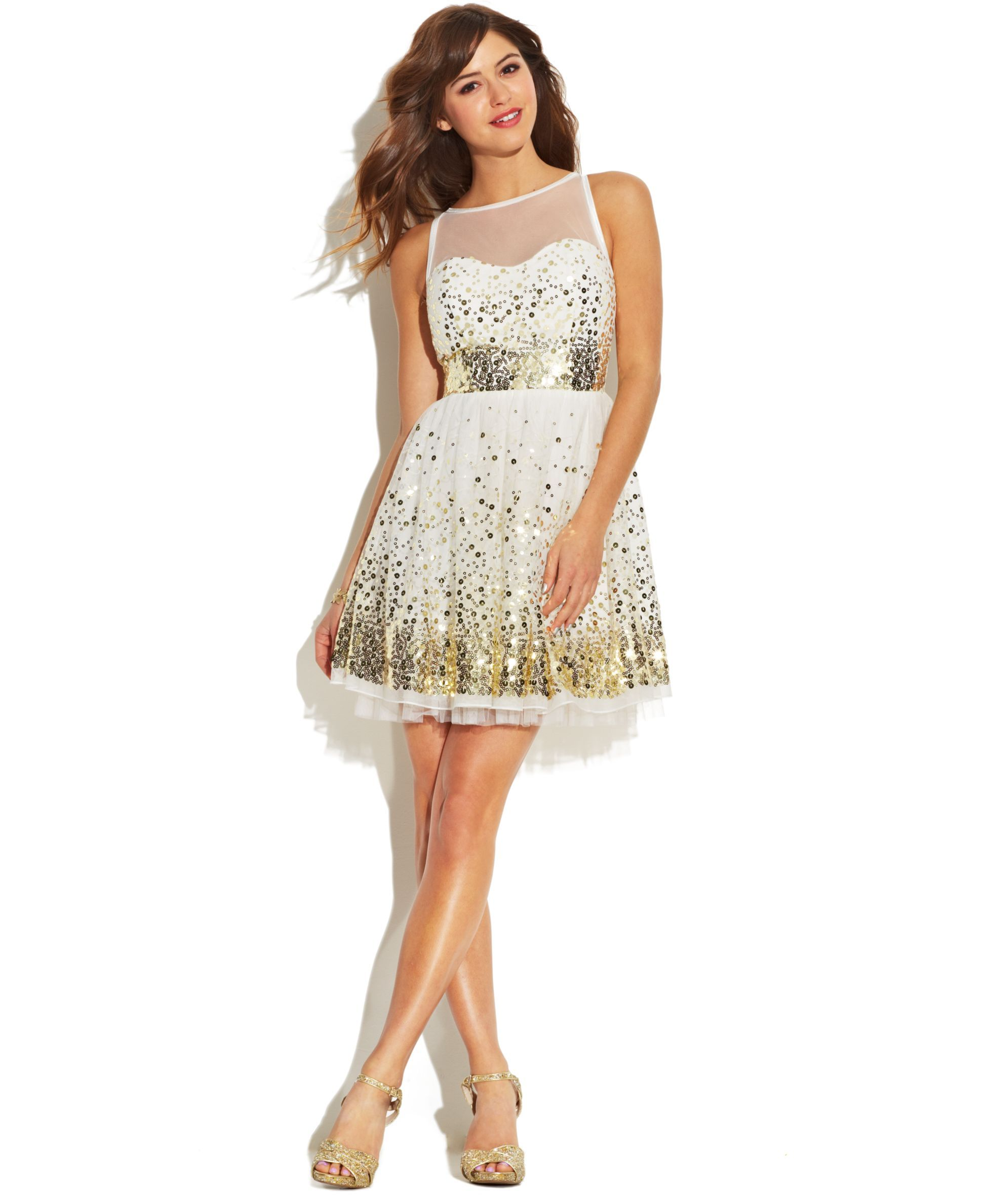 Crystal doll juniors dress sleeveless mesh paillettes products