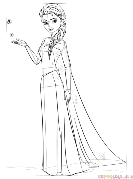 How To Draw Elsa From Frozen Step By Step Drawing Tutorials For Kids And Beginners Frozen Coloring Pages Elsa Coloring Pages Disney Princess Coloring Pages