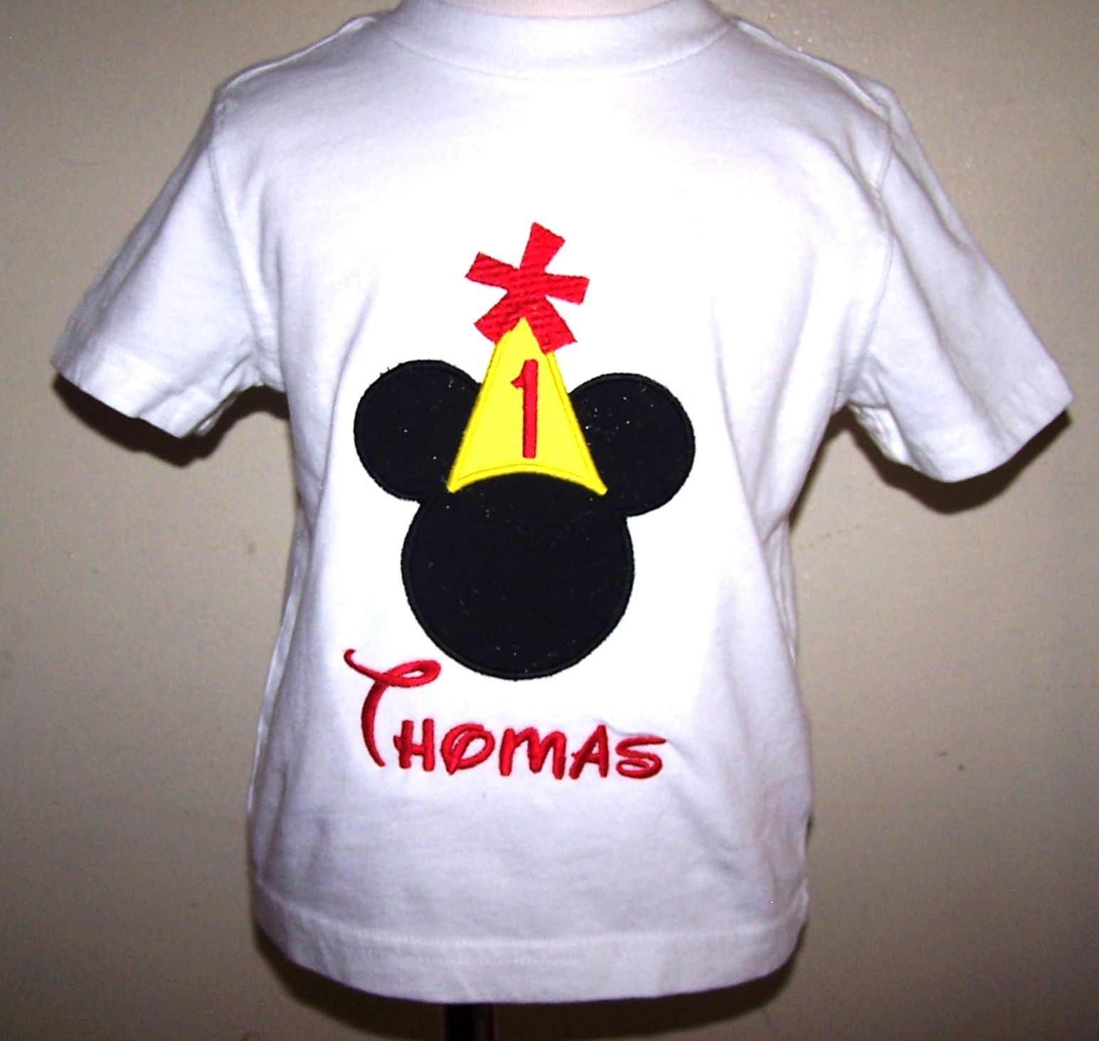 1st BIRTHDAY Mickey Hat Boy Shirt Disney Font Applique