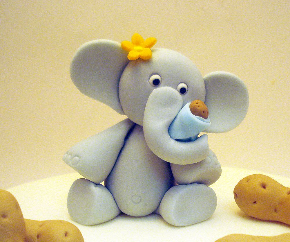 "4"" My little Peanut Elephant cake topper fondant mommy ..."