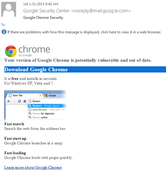 A phishing attack that uses a fake Coogle Chrome download puts a