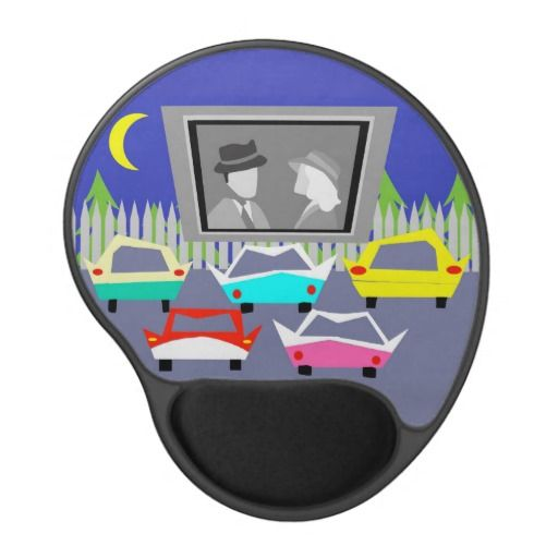 Small Town Drive-In Movie Gel Mousepad--#mousepad #office #retro #driveinmovie #classicmovies #classiccars #filmbuff #Zazzle #1950s #midcenturymodern