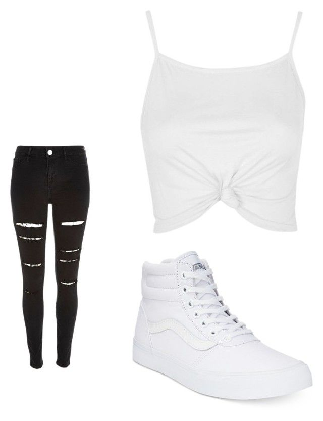 Black and White by destinynewton on Polyvore featuring polyvore, fashion, style, Topshop, River Island, Vans and clothing