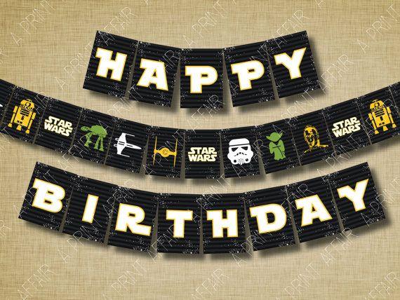 Star Wars Birthday Party Printable Banner Party By Aprintaffair 5 00 Star Wars Birthday Party Star Wars Theme Party Star Wars Theme Birthday