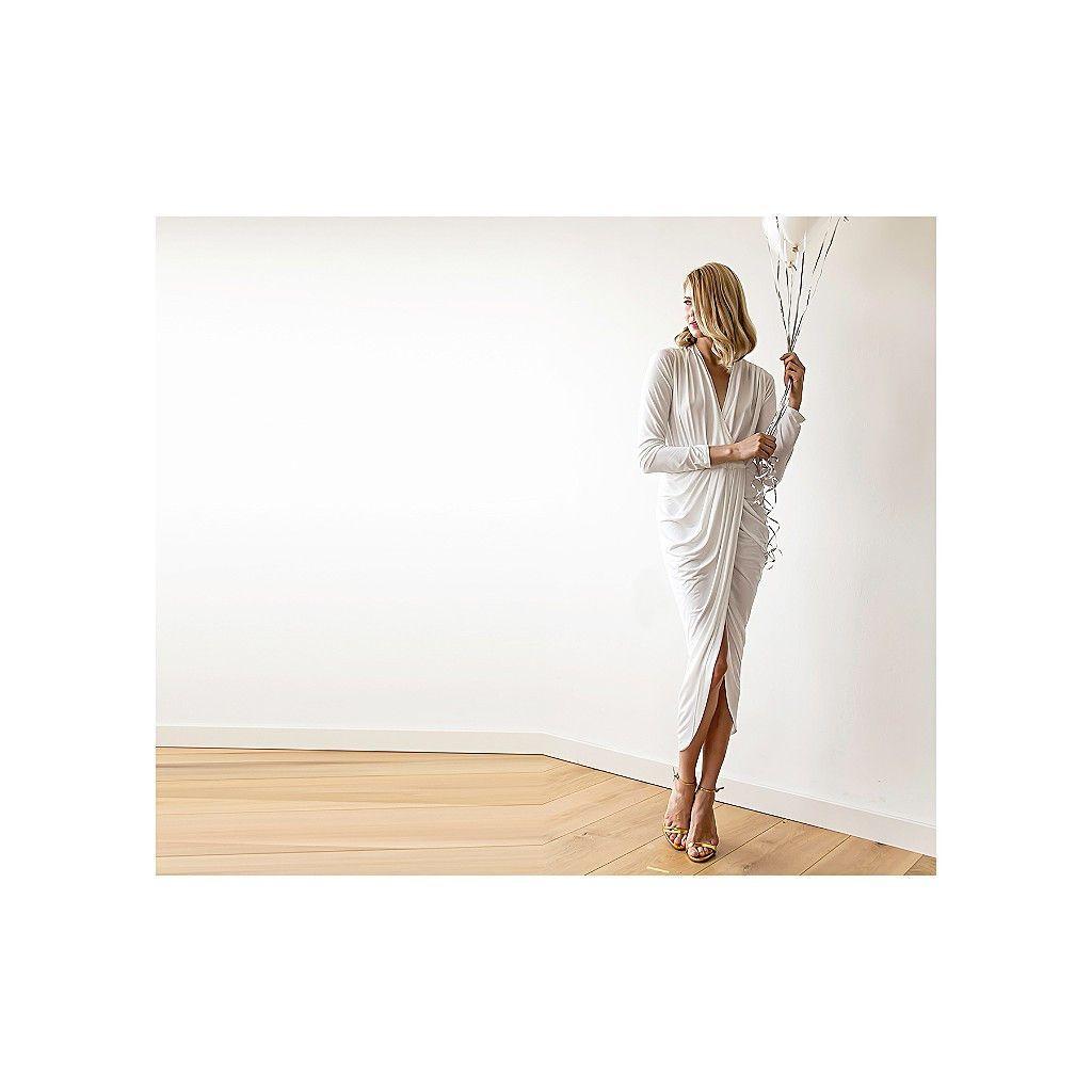 White maxi wrap dress with long sleeves maxi white wedding dress