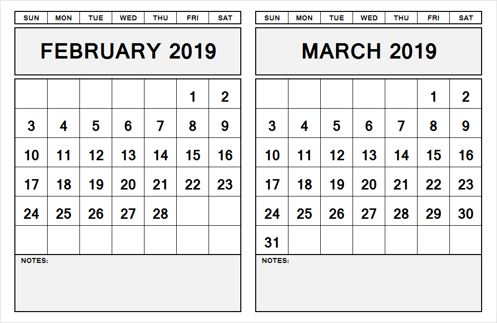 graphic about Printable 2 Month Calendar named 2 thirty day period calendar February march 2019 February 2019