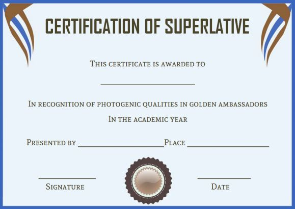 Senior Superlative Certificate Templates Superlative Certificate