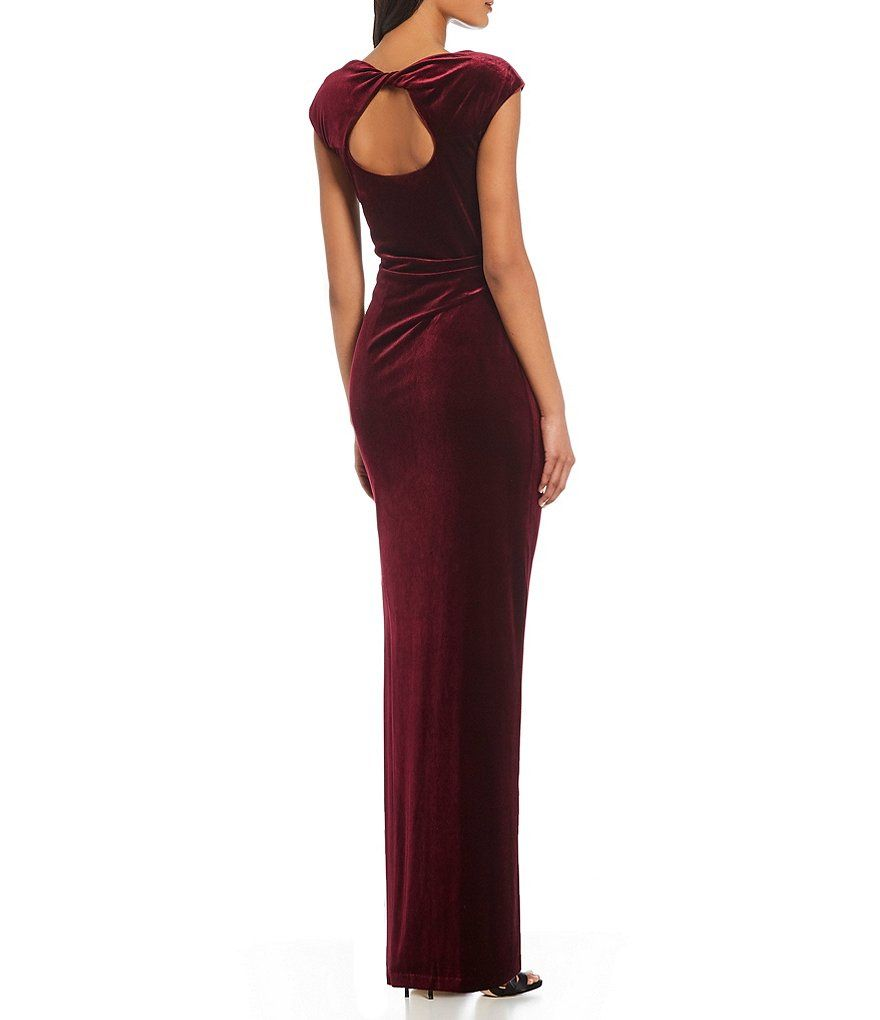 1d3611f9650 Vince Camuto Ruched Cap Sleeve Velvet Gown in 2018