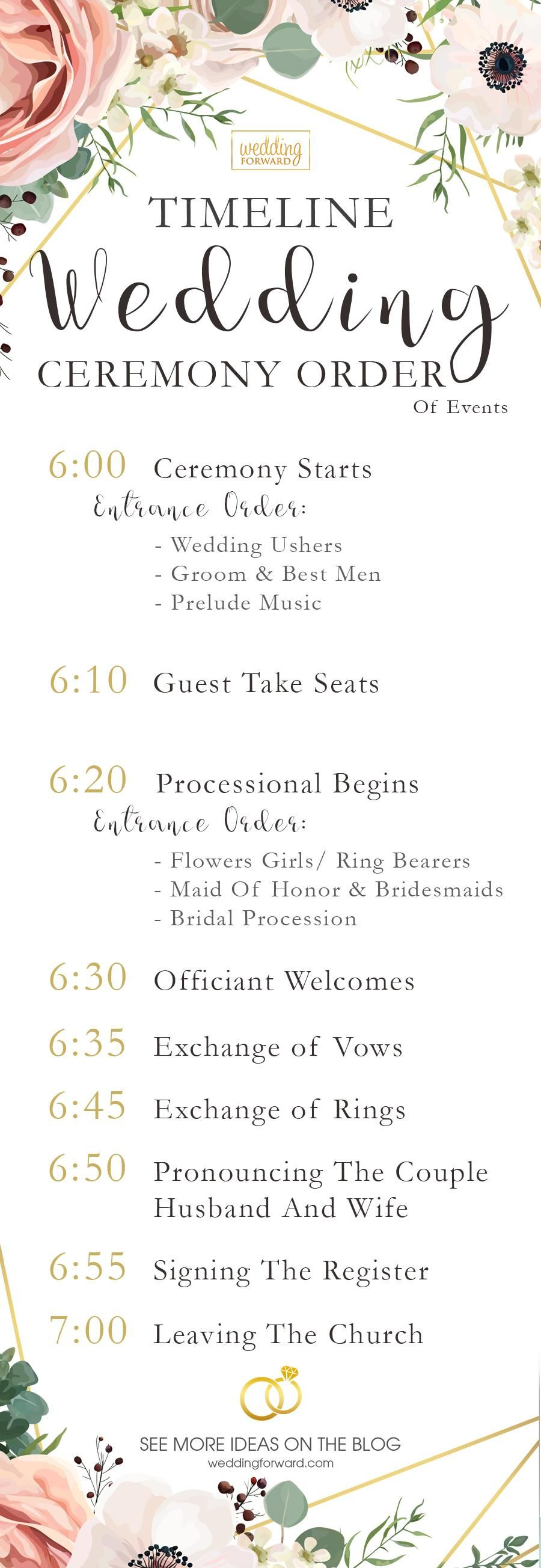 5 Samples Of Your Wedding Ceremony Order Of Events Order Of Wedding Ceremony Wedding Infographic Wedding Order Of Events Wedding order of events template