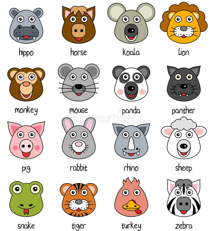 Cartoon Animal Faces Set 2 Collection Of 16 Funny Cartoon Animal Faces Isola Ad Funny Animal Car Cartoon Animals Cute Animal Drawings Animal Faces