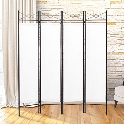 JAXPETY 4 Panel Room Divider Privacy Screen Home Office Fabric Metal ...