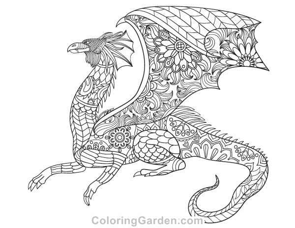 Free Printable Dragon Adult Coloring Page Download It In PDF Format At