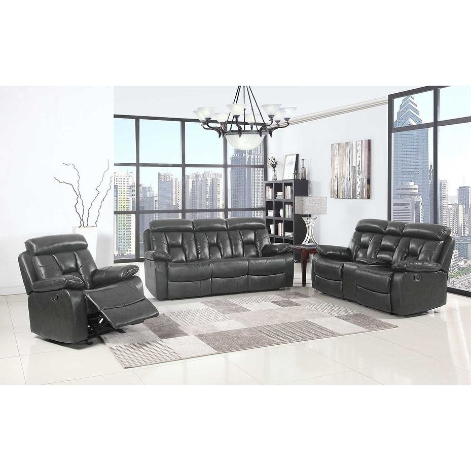 GU Industries Lockhart Leather Air Upholstered 3 Piece Living Room ...
