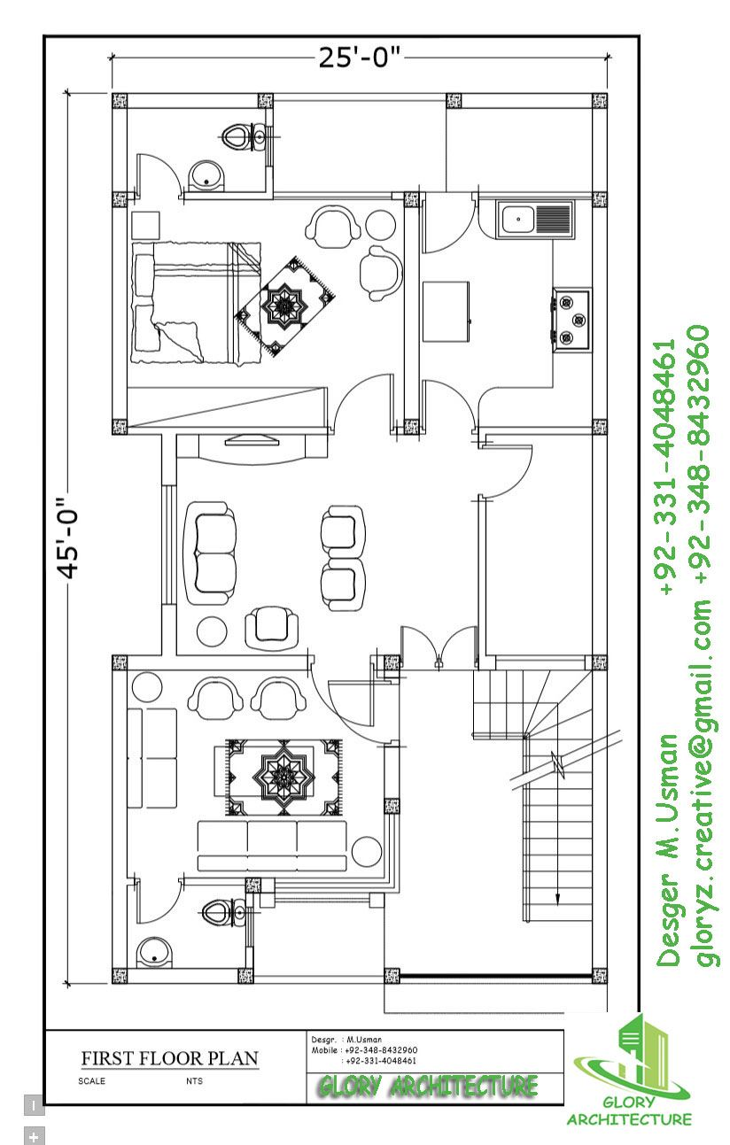 25x45 House Plan Town House Plans 2bhk House Plan 20x40 House Plans