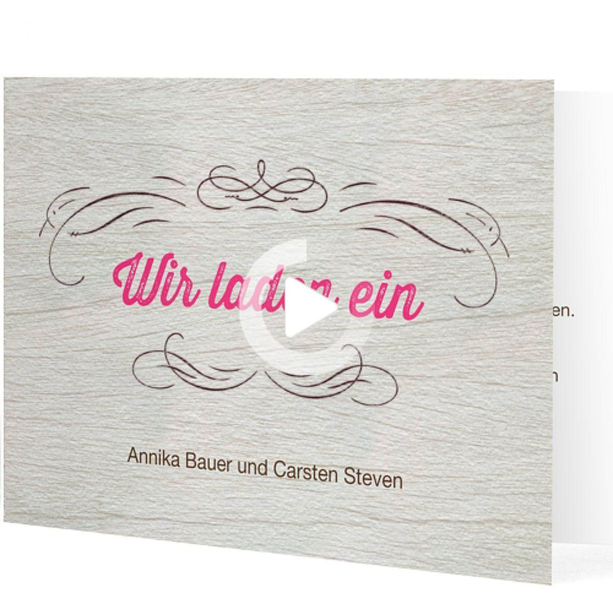 """Photo of flache rosa Hochzeitseinladung, """"rustikale"""" Faltkarte …"""