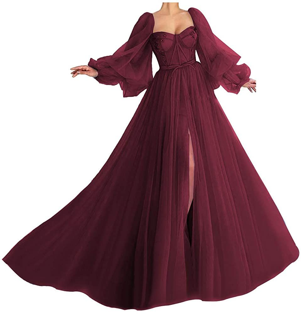 Amazon Com Puffy Sleeve Prom Dresses For Women Long Sweetheart Tulle Ball Gowns Princess Formal Evening Gown Bu Prom Dresses Ball Gown Ball Gowns Ball Dresses [ 1000 x 958 Pixel ]