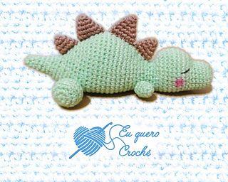 Sleeping baby dino pattern by Adriana Gori #crochetdinosaurpatterns