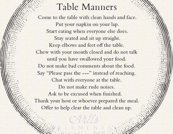 Table manners printable placemat for children by for Table etiquette