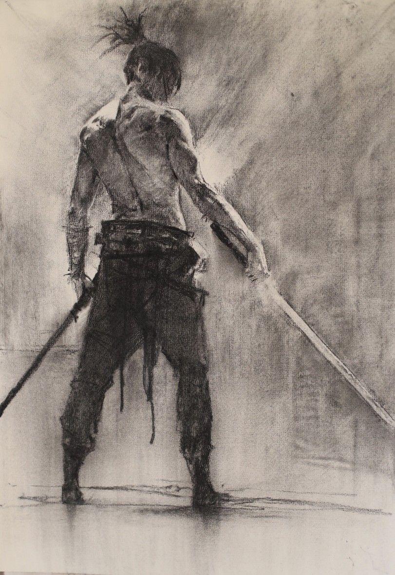 Картинки самураев с катаной карандашом