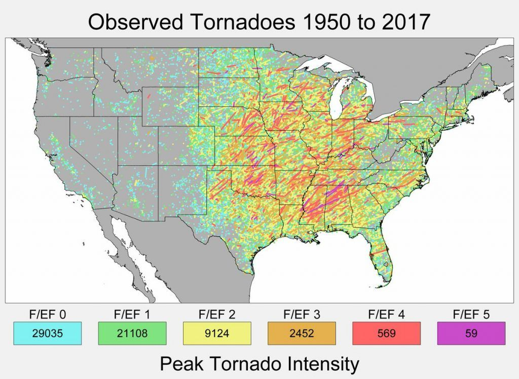 Track And Peak Intensity Of Us Tornadoes 1950 2017 United - Us-track-map-it