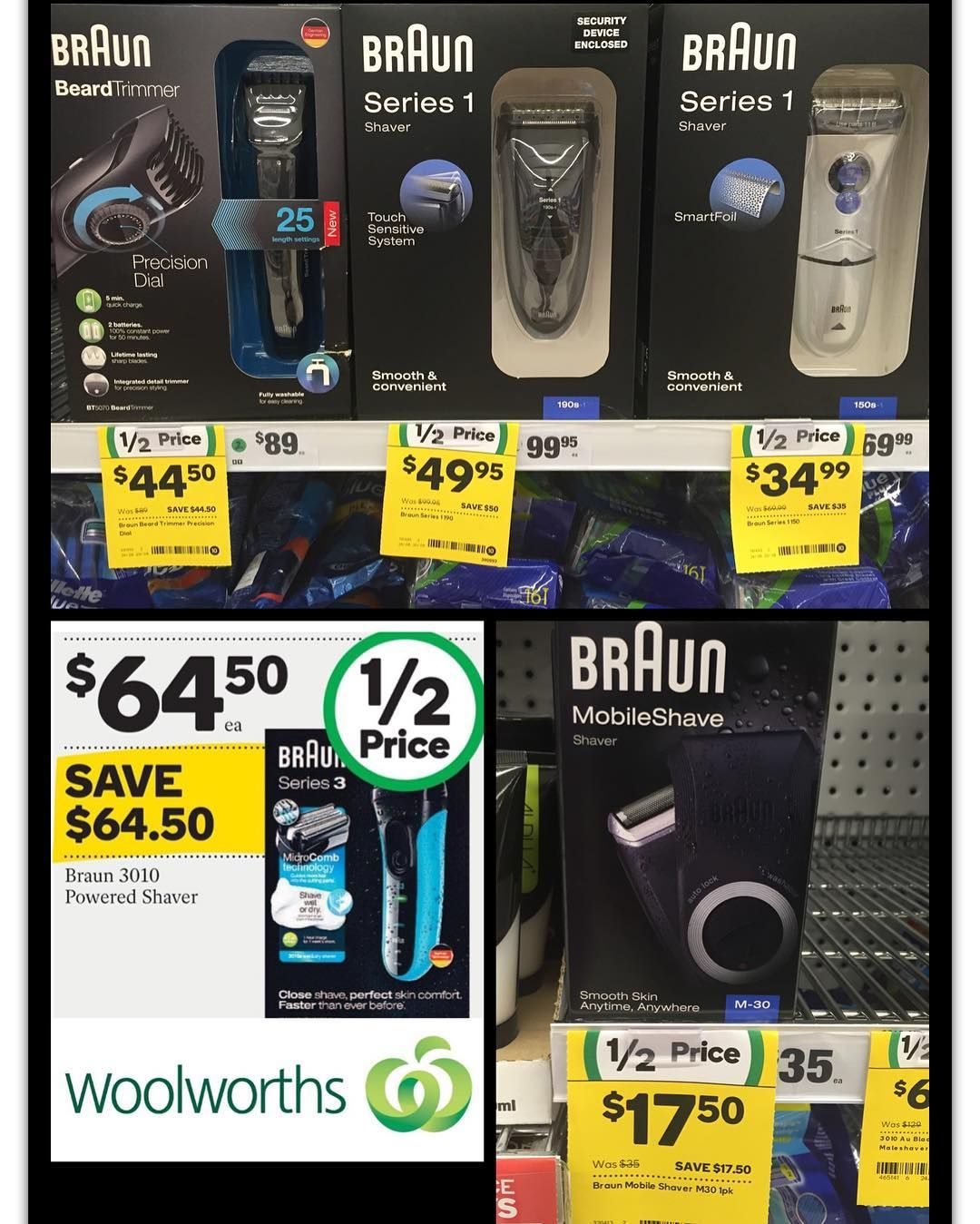 Check out these #Braun products #onsale for #halfprice this week at #woolies. Offer ends 30.8.16 @woolworths_au . . . . #poweredshaver #shaver #beardtrimmer #mobileshave #woolworths #giftideasforhim #giftideasformen #fathersday2016 #50percentoff #bargain #qualityforless #whypaymore #bargainshopper #smartshopper #savvysaver #aug16