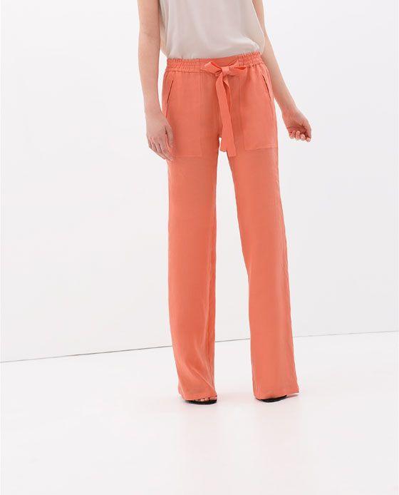 Pantalon Lino Gomas Cinturon Pantalones Mujer Zara Mexico