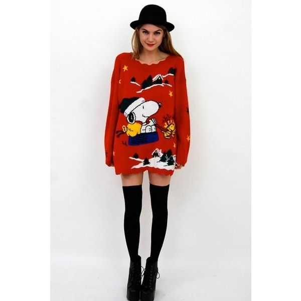 da15fad3d15 ULTIMATE CHRISTMAS SWEATER DRESS w. SNOOPY! Slouchy Knit OS