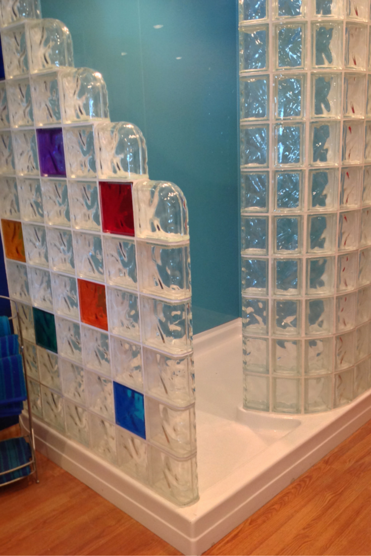 Learn How To Compare Shower Pans For A Glass Block Shower. This One Has  Some Fun Colored Glass Blocks And High Gloss Acrylic Wall Panels