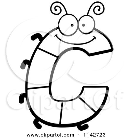 Cartoon Clipart Of A Black And White Letter C Bug  Vector