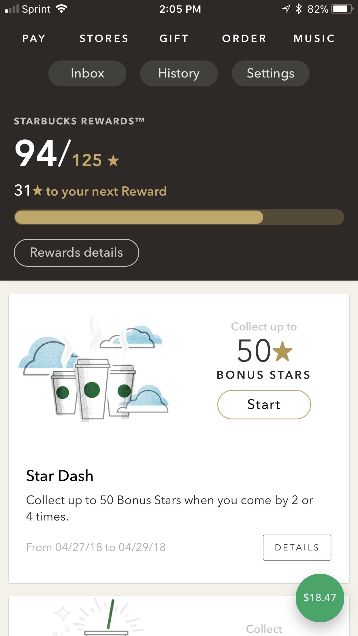 Starbucks mobile app homepage variety visualhierarchy