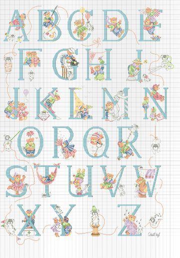 Schemi punto croce di alfabeti e iniziali alfabeto for Schemi punto croce alfabeto bambini