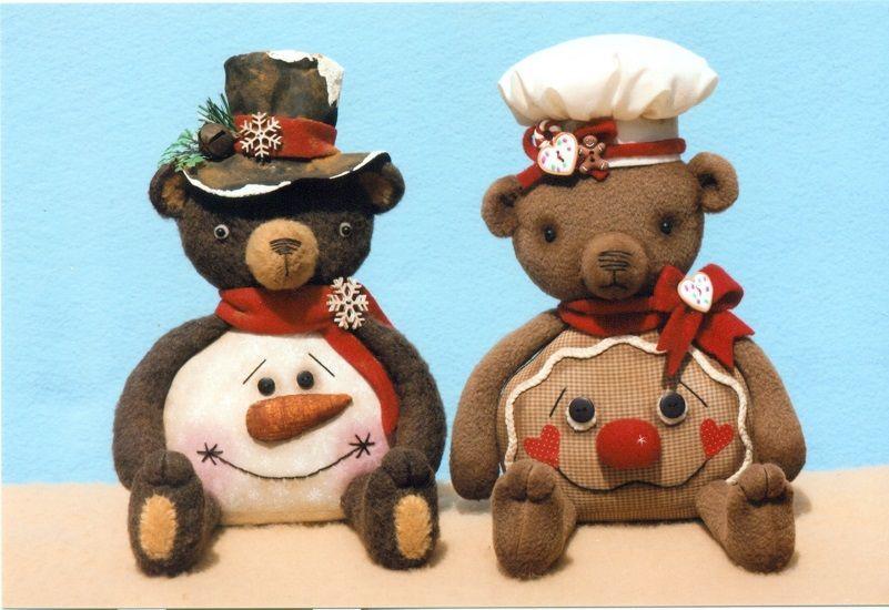 Happy Heart Belly Bears for Winter The Pattern Hutch stuffed cloth doll craft pattern snowman gingerbread shelf sitter