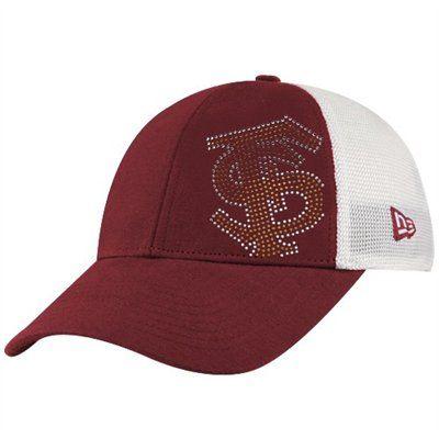 bc6e84c9c New Era Florida State Seminoles (FSU) Ladies Garnet-White Jersey Shimmer  Rhinestone Mesh Back Adjustable Hat