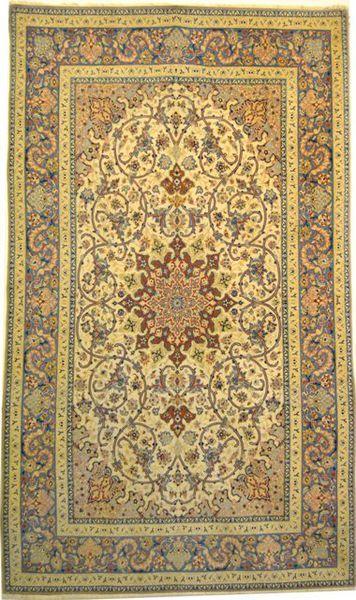 Esfahan, Sammlerstück, geknüpft um 1950, Korkwolle auf Seiden-Kette geknüpft, 145 x 245 cm -
