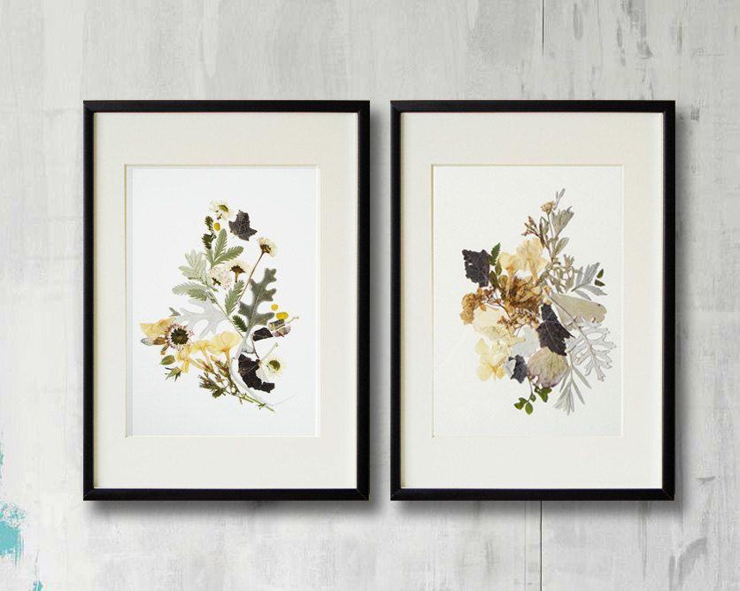 set of 2 framed prints plant art contemporary art dry flower decor herbarium pressed flower frame