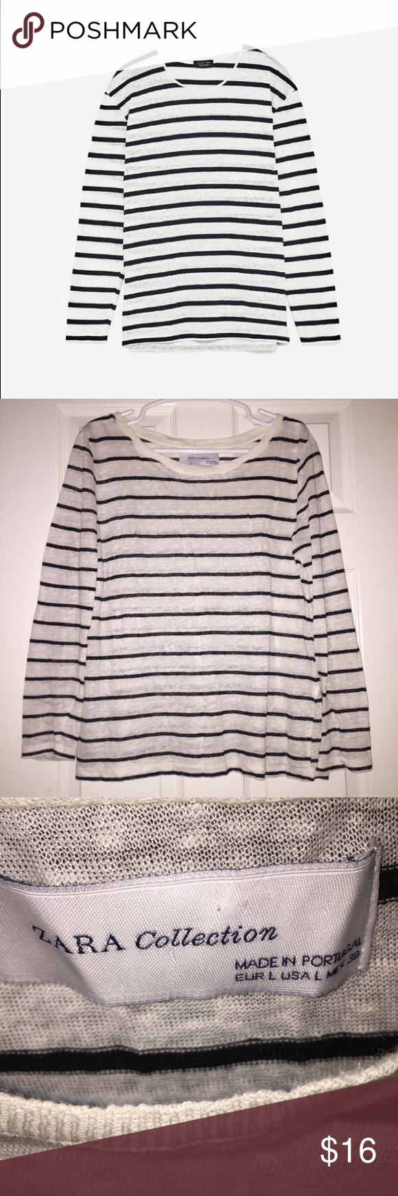 3620e37b50a Zara Black White Striped Long Sleeve Linen Top In like new condition! Size  large. 100% linen. No flaws. Zara Tops Tees - Long Sleeve