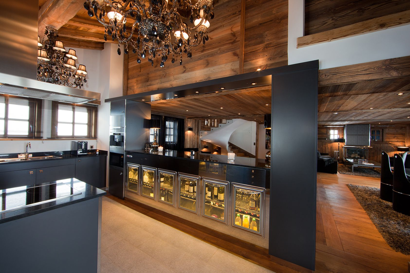 kitchen -ikhome -cuisine -chalet de luxe -luxury chalet -megeve -jaillet -rental chalet - wine cellar