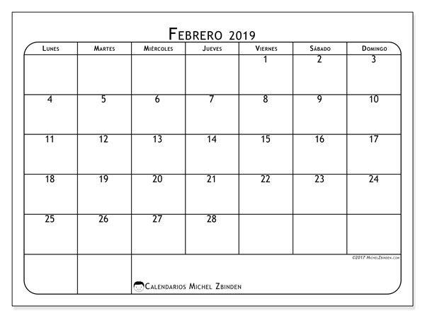 Calendario Febrero 2019 51ld Graficos Calendar Free Printable