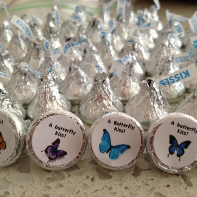 Butterfly Kiss Labels I Had Read On Another Pin That Staples Makes Circle Labels That Fit P Tea Party Baby Shower Butterfly Baby Shower Butterfly Party Favors