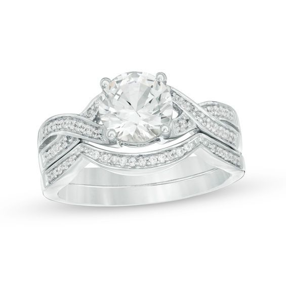 Zales Lab-Created White Sapphire and 1/6 CT. T.w. Diamond Double Row Three Stone Ring in Sterling Silver ueS5UpTcRL