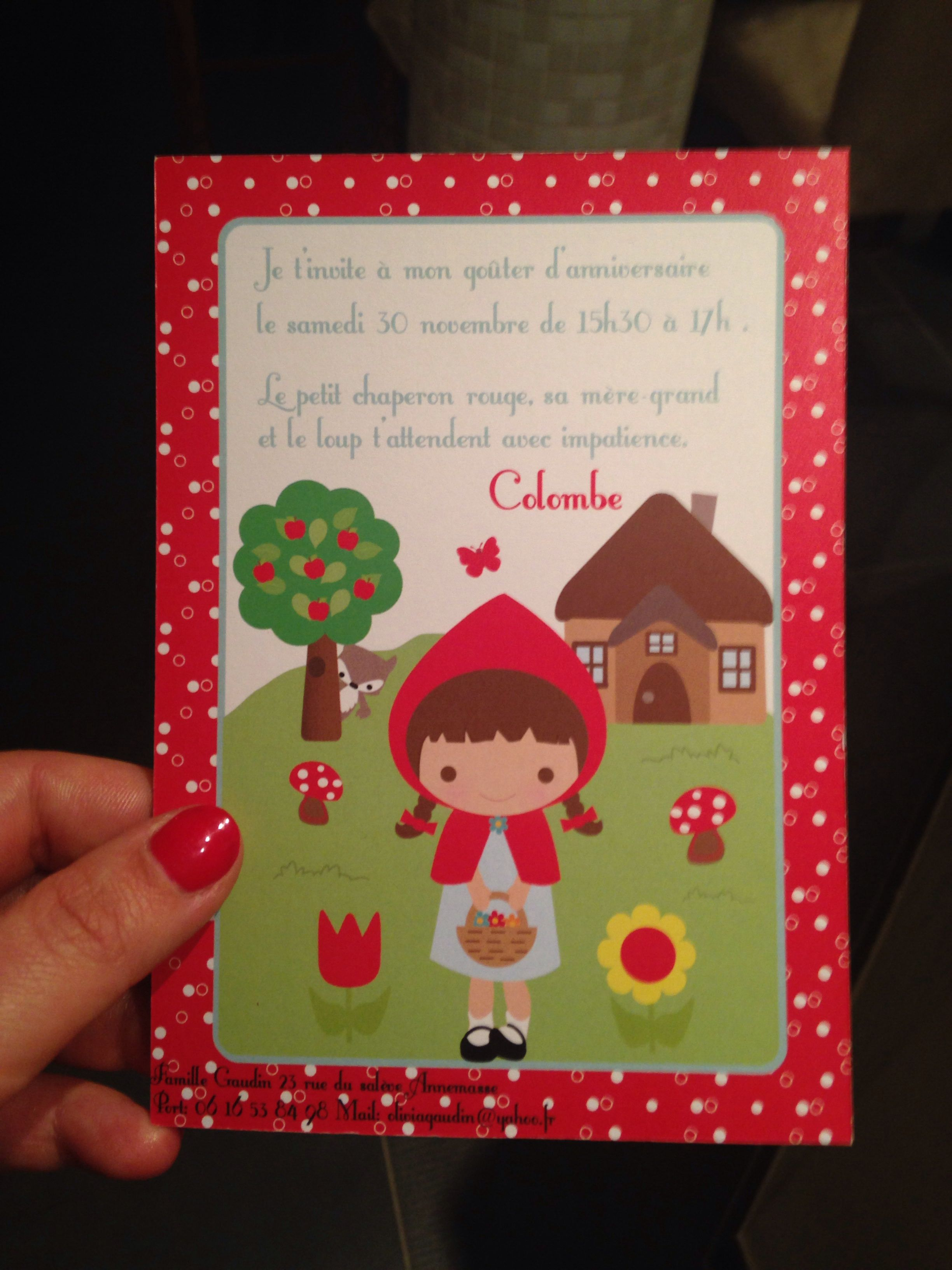 Little red riding hood party invitation | Marcella\'s birthday party ...
