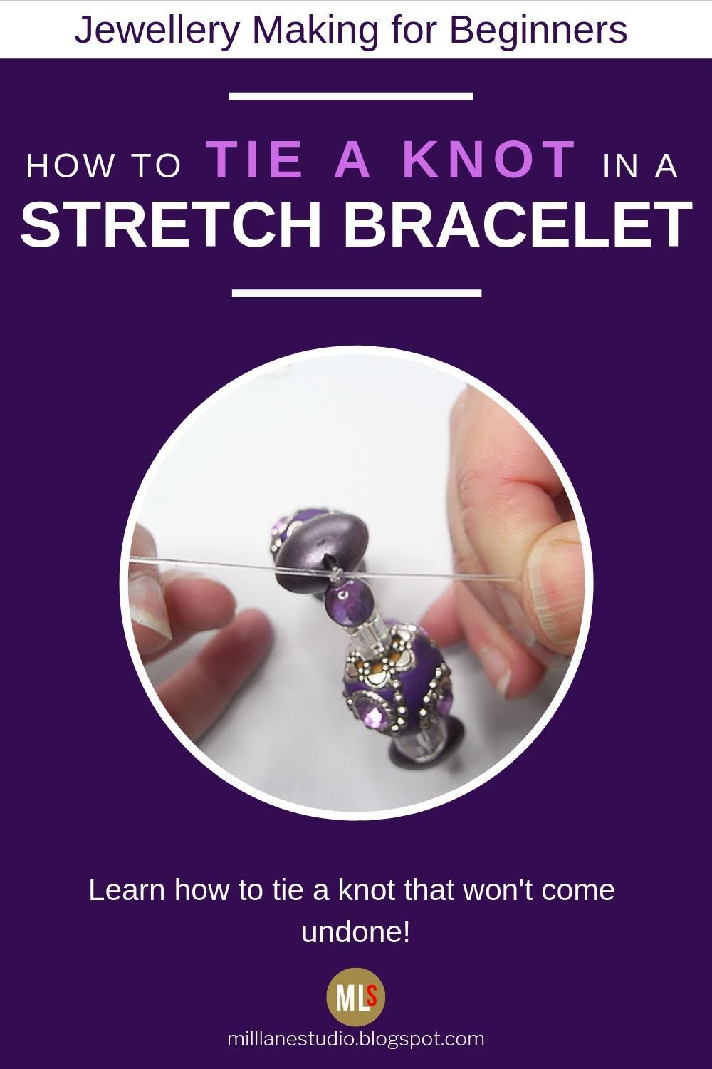 Kashmiri Stretch Bracelet is part of Jewelry making, Stretch bracelets, Stretch bracelets diy, Making jewelry for beginners, Professional jewelry, Beaded bracelets diy - Beginner's jewellery making project  string a Kashmiri bead bracelet on Stretch Magic beading elastic and learn how to tie a secure knot