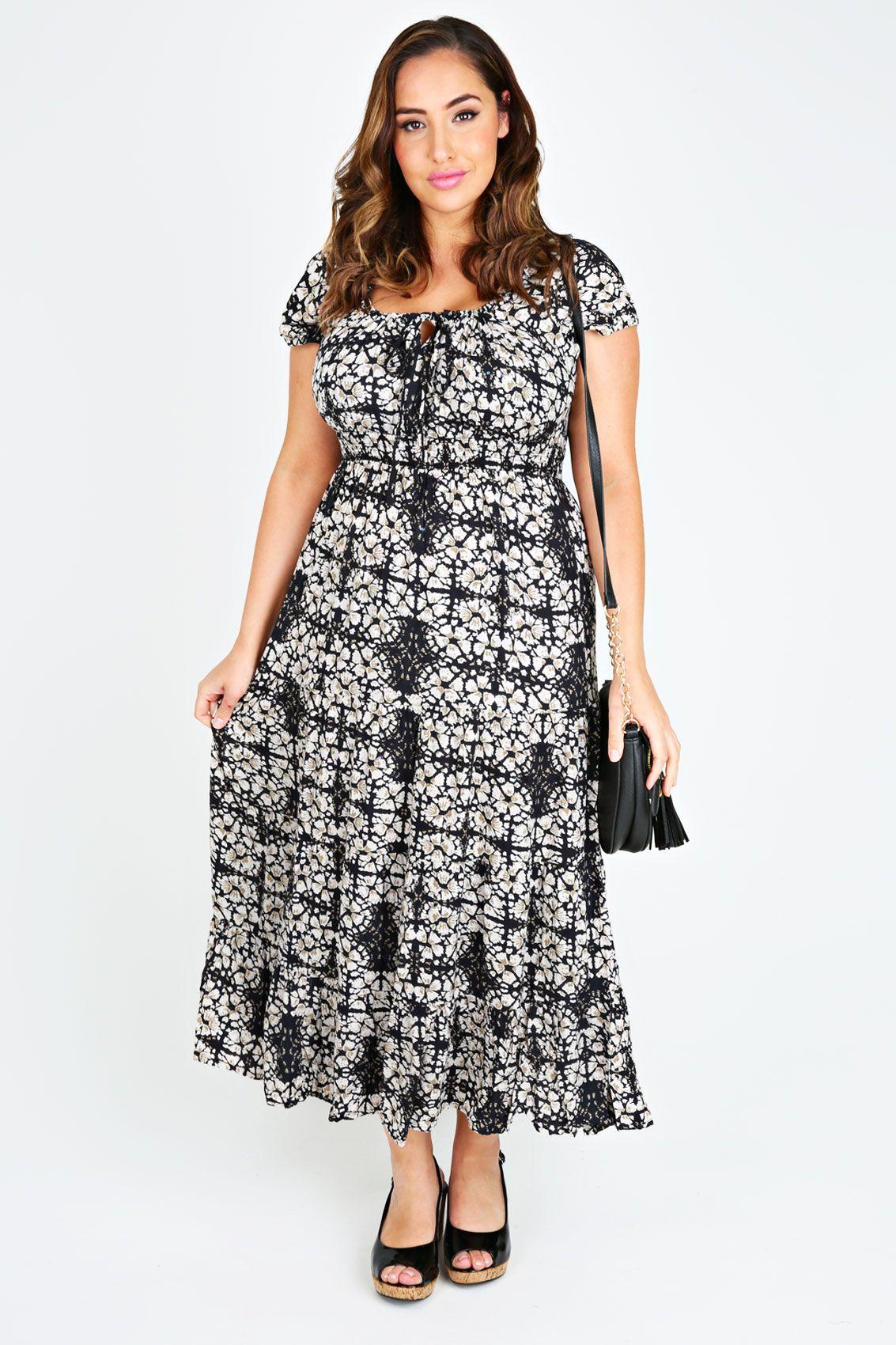 Black & Cream Batik Print Gypsy Maxi Dress | My clothes wishlist ...