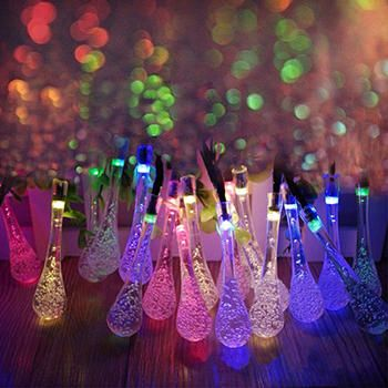 20 LED Solar Powered Water Drop String Lights LED Fairy Light for