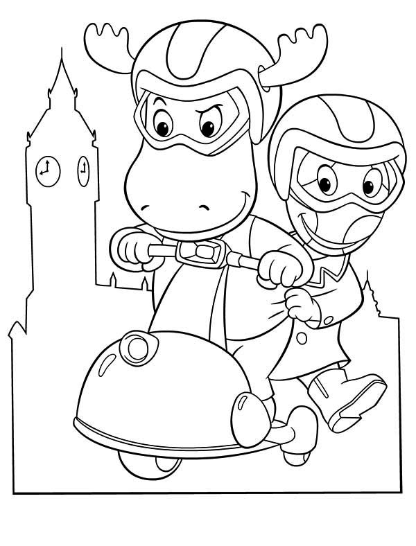 Tyrone And Uniqua Ride Scooter In The Backyardigans Coloring Page Kids Play Color In 2020 Coloring Pages Coloring Pictures Online Coloring
