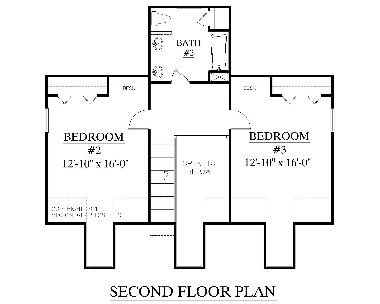 House Plan 2051 Ashland Second Floor Plan Colonial Cottage 1 1 2 Story Design With Three Bedrooms And 2 1 2 Baths Garage Floor Plans Floor Plans Story House