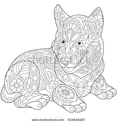 Stylized Cute Husky Dog Puppy Freehand Sketch For Adult