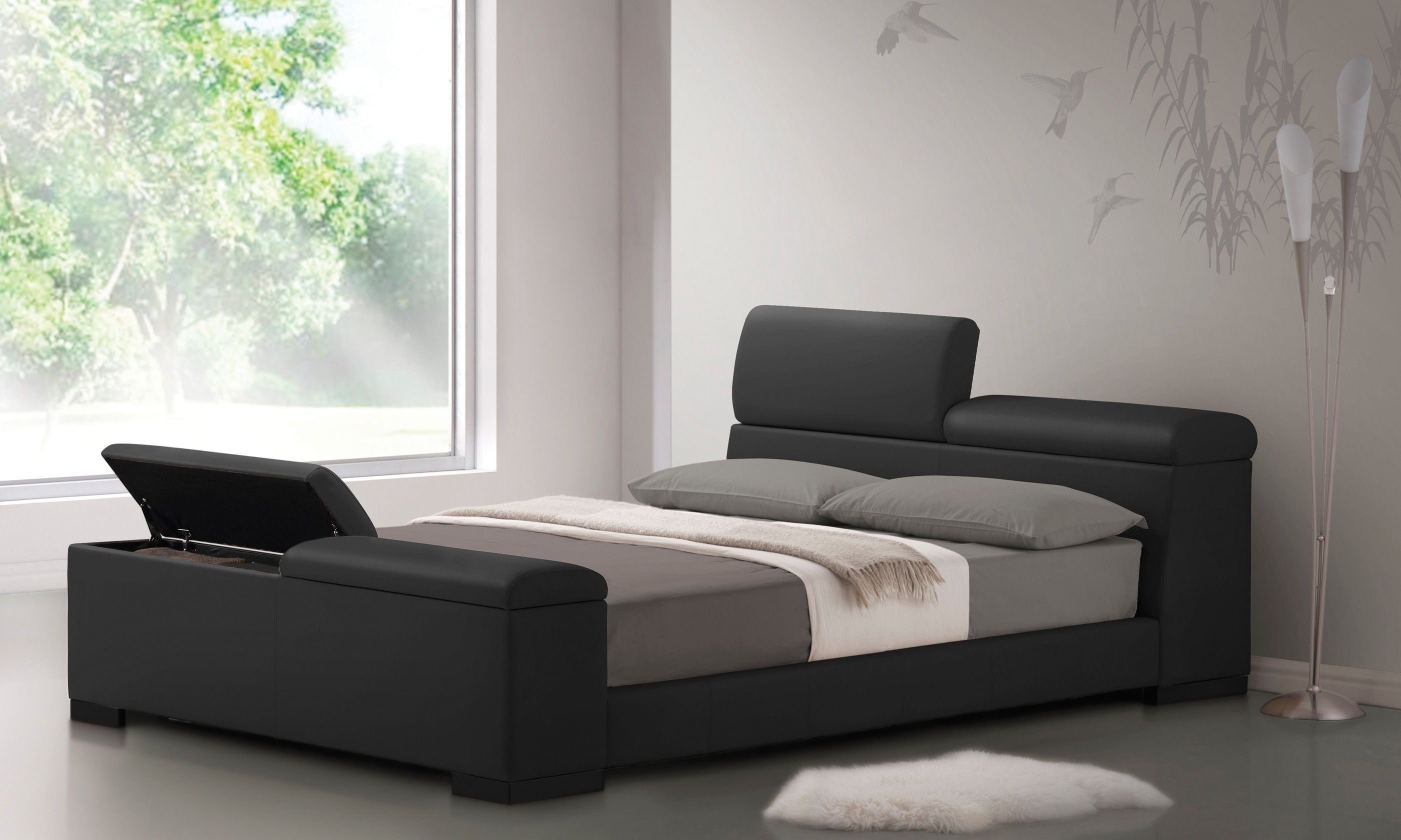 black bed without headboard in a modern design Google