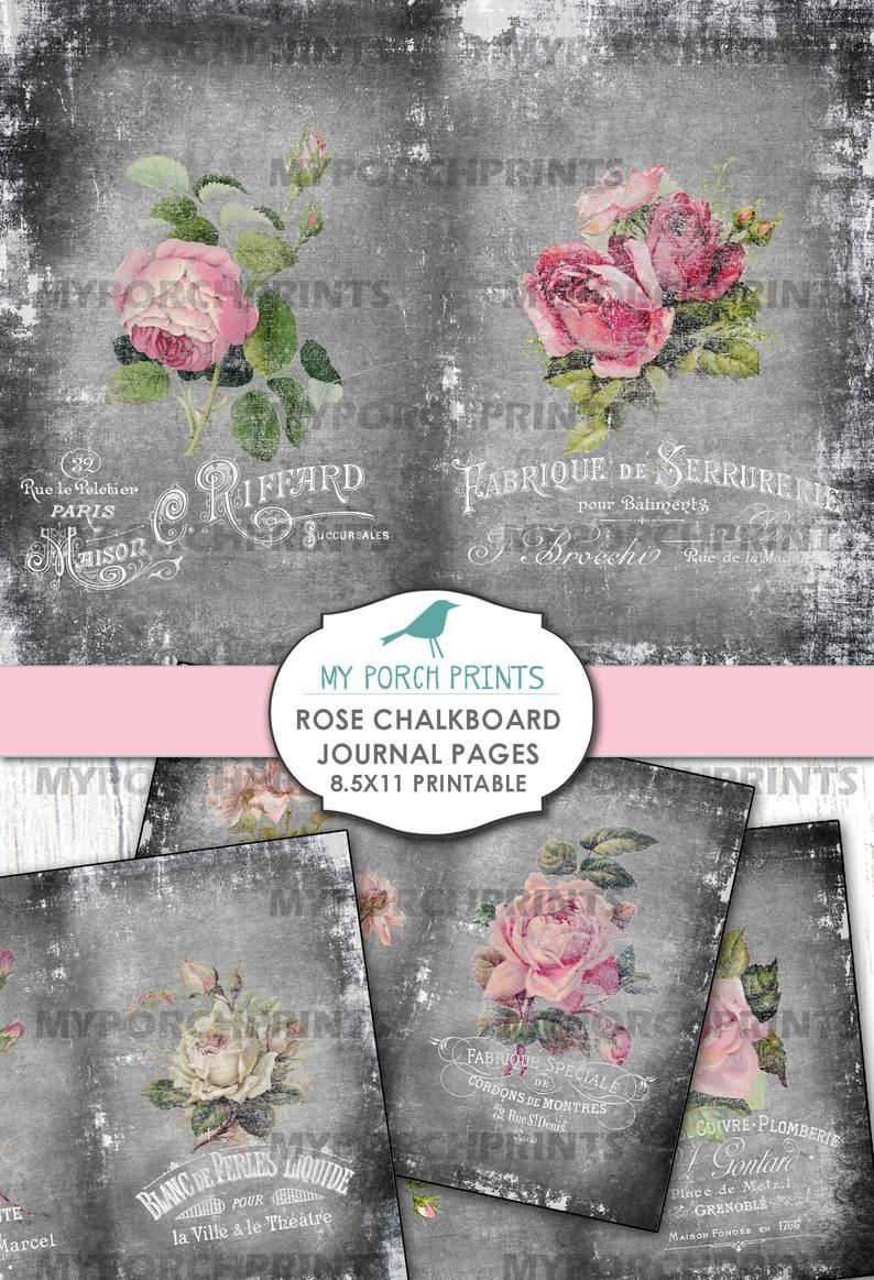 Rose Chalkboard Journal Pages Collage Sheet Floral Flowers