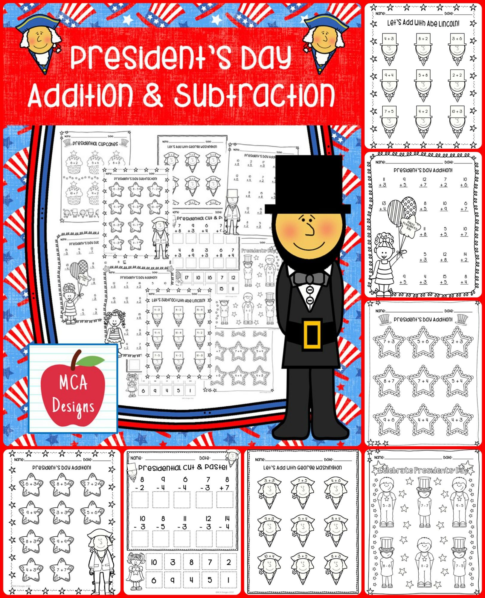 President S Day Addition And Subtraction